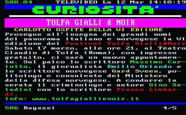 Televideo RAI per il Festival Tolfa Gialli&Noir